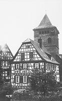 Pfarrhaus mit Kirche gegen Südwesten / Pfarrhaus in 75443 Ötisheim (LAD Baden-Württemberg, Außenstelle Karlsruhe, Microfiche-Scan mi08478f14)