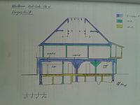 Bauphasenplan (Längsschnitt) / Ehem. Gärtner- bzw. Pflanzenhaus (Tauberhofgarten) in 97877 Wertheim (01.05.2004 - B. Lohrum)