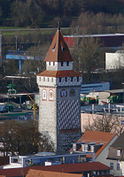 Ravensburg, Gemalter Turm (Blick von der Veitsburg) / Gemalter Turm in 88212 Ravensburg (02.03.2016 - Andreas Praefcke)