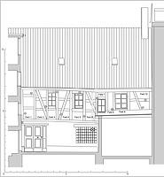 Hoffassade mit Abbundzeichenkartierung. / Wohnhaus Hüetlinstraße 2, 78462 Konstanz in 78462 Konstanz (04.04.2016 - Zeichnung Feist Architektur, Eintragung Abbundzeichen winterfuchs)