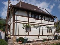 West- und Südfassade mit Eintrag des ehemaligen Fachwerks / Fachwerkhaus in 79346 Endingen (13.04.2016 - Frank Löbbecke)
