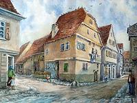 Zeichnung H. D. Weber von abgegangenem Haus / Abgegangenes Wohnhaus mit Scheune in 74354 Besigheim (28.06.1990 - Neckar-Enzbote)