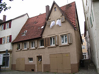 Ansicht von Nordost, vor dem Abbruch. / Wohnhaus in 74354 Besigheim (03.07.2016 - Denkmalpflegerischer Werteplan, Gesamtanlage Besigheim, Regierungspräsidium Stuttgart)