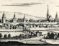 Kupferstich Merian / Äußeres Enzbrückentor, abgegangen in 74354 Besigheim (1643 - Stadtarchiv Besigheim)