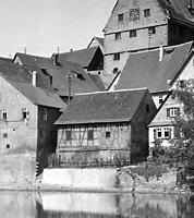 Enzseite Scheune hinter Hauptsrasse 7  vor 1958 / Wohn- und Geschäftshaus in 74354 Besigheim (Stadtarchiv Besigheim)