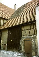 Abgebrochene Scheune mit Kellereingang um 1980 / Wohnhaus und Garagen in 74354 Besigheim (Stadtarchiv Besigheim)