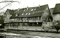 Historische Ansicht von Süden, von der Enz / Wohnhaus, Untere Enzmühle (Schellenmühle) in 74354 Besigheim (Stadtarchiv Besigheim)
