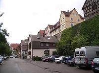 Unterer Straßenabschnitt von Norden / Oberamteigasse in 74354 Besigheim (2007 - Denkmalpflegerischer Werteplan, Gesamtanlage Besigheim, Regierungspräsidium Stuttgart)