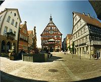 Blick nach Westen  um 1980 / Marktplatz in 74354 Besigheim (Stadtarchiv Besigheim)