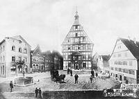 Blick nach Westen um 1900 / Marktplatz in 74354 Besigheim (Denkmalpflegerischer Werteplan,  Gesamtanlage Besigheim  Regierungspräsidium Stuttgart)