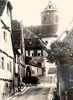 Oberer Bereich; historische Ansicht von Norden zur Kirchstaffel / Kirchstraße in 74354 Besigheim (ca. 1930 - Stadtarchiv Besigheim)