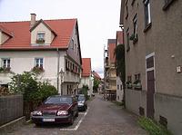 Blick von der Stadtmauer nach Osten / Schulbrunnengasse in 74354 Besigheim (2007 - Denkmalpflegerischer Werteplan,  Gesamtanlage Besigheim  Regierungspräsidium Stuttgart)