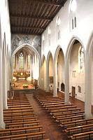 Innenansicht in Richtung Chor / Kath. Pfarrkirche St. Martin in 79098 Freiburg im Breisgau,  keine genauere Zuordnung (Bildarchiv Freiburg, Landesamt für Denkmalpflege)