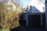 Stadtmauerabschnitt Schwanengasse 26, Ansicht von Süden (Lindenstraße 38) / Stadtmauerrest, Schwanengasse 26 in 89584 Ehingen, Ehingen (Donau) (15.02.2019 - Christin Aghegian-Rampf)