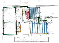 Der Baualtersplan des ersten Obergeschosses zeigt in den südlichen Hausteilen (rechts) umfangreichen mittelalterlichen Restbestand (blau), darunter auch eine umfangreich erhaltene Bohlenstube mit hofseitigem Fensterband. Die straßenseitigen Hausteile (links) wurden im frühen 17. Jahrhundert vollständig neu aufgeführt (grün). / Wohnhaus in 89073 Ulm (2016 - Stefan Uhl)