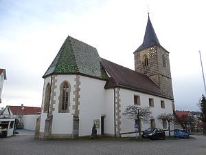 Ansicht von Nordosten / Georgskirche Bonlanden in 70794 Filderstadt, Bonlanden (12.01.2015 - Foto: Tilmann Marstaller)