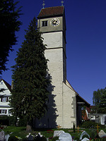 Ansicht von Süden / Ev. Pfarrkirche St. Nikolaus in 72660 Beuren