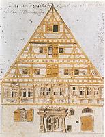 Alte Aula in Tübingen. Bauaufnahme der Nordfassade vor dem Umbau 1777. / Alte Aula  in 72070 Tübingen
