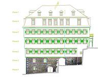 Alte Aula in Tübingen. Ostfassade. Bauaufnahme 2003 mit hinterlegten Orthofotos des Bruchsteinsockels. (Quelle: M. Hermann) / Alte Aula  in 72070 Tübingen