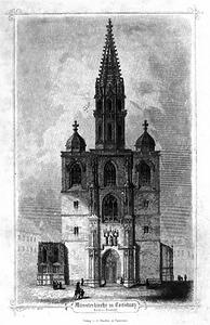 Das Münster von der Westseite im Jahre 1856. Kurze Zeit später wurden die Maßwerkhauben auf den Seitentürmen entfernt und durch Fialen ersetzt. / Münster Unserer Lieben Frau in 78462 Konstanz