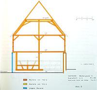 Querschnitt, historisches Gerüst und Gefüge (H.J. Bleyer) / Ökonomiegebäude in 72534 Hayingen