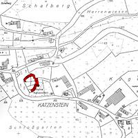 """Ausschnitt Flurkarte von 1967 / Burg Katzenstein, Romanisches Steinhaus (""""Palas"""") in 89561 Dischingen-Katzenstein (02.07.1967 - Vorlage LV-BW)"""