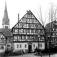 Ansicht Nord, 1990 / Rathaus und Haus Hirsch in 74219 Möckmühl