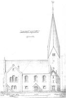 Ansicht von Süden 1896 / Ev. Kirche St. Bernhardt in 73732 Esslingen am Neckar, St. Bernhardt