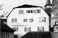 Ansicht nach dem Brand mit prov. Dach / Seelhaus, Spital in 74613 Öhringen