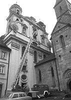 Südseite der ehemaligen Jesuitenkirche, 1980 / evangelische Stadtkirche (Jesuiten) in 73479 Ellwangen, Ellwangen (Jagst)