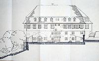Zeichnung, Befundplan, der zum Hof weisenden Nordfassade (1987) / Schulgebäude; ehemalige Lateinschule in 74354 Besigheim (Amt für Stadtentwicklung, Wohnungsbau, Wirtschaftsförderung und Umwelt Besigheim.)