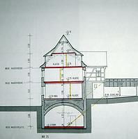 Querschnitt, erstellt wahrscheinlich 1987 / Schulgebäude, ehemalige Pfründscheuer in 74354 Besigheim (29.08.2006)