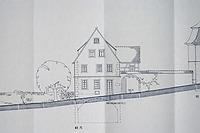 Südliche Gebäudefassade an der Kirchstraße, Zeichnung von 1987 / Schulgebäude, ehemalige Pfründscheuer in 74354 Besigheim (26.08.2008)