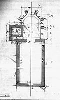 St. Barbarakapelle, Grundriss von 1902, Urheber: Regierungspräsidium Karlsruhe, RPK, Ref. 26   / Ruine der St. Barbarakapelle in 76307 Karlsbad-Langensteinbach