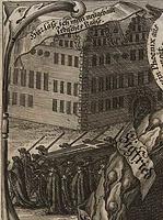 Schloss Weikersheim 1684. Kupferstich aus der Leichenpredigt auf Graf Siegfried von Hohenlohe-Langenburg. / Schloss in 97990 Weikersheim