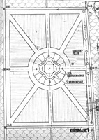 Kornmarkt-Madonna, Gestaltungsplan Kornmarkt, Entwurf von 1987, Ausschnitt, Urheber: Joest, P., Walther, H. (freie Architekten) / Kornmarkt Madonna  in Heidelberg-Altstadt