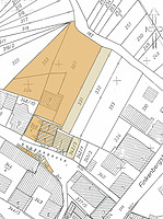 Katasterplan 1:500, mit Eintragung der Besitzverhältnisse im späten 20. Jahrhundert / Haus Rappengasse 6 in 74078 Heilbronn, Biberach