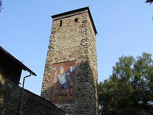 Romäusturm mit bildlicher Darstellung des Namensgebers, der Lokalheld Remigius Mans (Riese Romäus) / Romäusturm in 78050 Villingen (06.08.2003 - http://www.badische-seiten.de/villingen/romaeusturm.php)