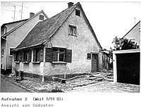 Tagelöhnerhaus in Weidenstetten, Ansicht Südost / Tagelöhnerhaus aus Weidenstetten in 89197 Weidenstetten (Restaurierungsbericht von Lutz Walter (1992) (Anhang II, Aufnahme 2))