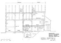 Längsschnitt (Lohrum/Bleyer, 1989), M 1:50 / Bauernhaus aus Aichelau (Hofanlage Aichelau, Hauptbau) in 72539 Aichelau (02.01.1989 - Ingenieurbüro für Hausforschung, Datierung und Bauaufnahme Burghard Lohrum und Hans-Jürgen Bleyer)