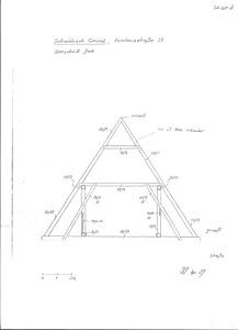 Systemskizze, Querschnitt Dachwerk (Skizze 2) / Wohnhaus in 73525 Schwäbisch Gmünd (01.04.1989 - Lohrum)
