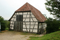 Schafstall im FLM Beuren; westlche Giebelseite / Schafstall aus Schlaitdorf in 72667 Schlaitdorf (02.09.2011 - Becker_priv)