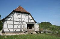 Östliche Giebelseite im FLM Beuren / Schafstall aus Schlaitdorf in 72667 Schlaitdorf (http://www.freilichtmuseum-beuren.de/museum/rundgang/schafstall-aus-schlaitdorf/)