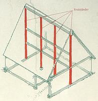 Konstruktionszeichung der Firstständerkonstruktion am Beispiel der Beurener Scheuer / Schlegelscheuer aus Beuren in 72660 Beuren (02.09.2011 - Museumstafel im FLM Beuren)