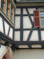 Ecksituation der beiden Gebäudekörper / Hof Wyrich, Haus Mannsperger, Dosterhaus; Wohn- und Wirtschaftsgebäude aus Tamm in 71732 Tamm (http://www.freilichtmuseum-beuren.de/museum/rundgang/wohn--und-wirtschaftsgebaeude-aus-tamm/)