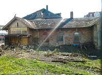 Ansicht gegen Westen (2012) / Nebengebäude 2 (Bahnhof 5) in 97980 Bad Mergentheim (02.04.2012 - haas + haas/Niederstetten)