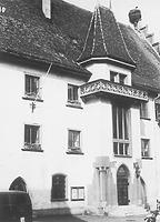 Neugotischer Treppenturm an der Traufseite des Rathauses / Rathaus in 88491 Riedlingen (Bildindex Foto Marburg: LAD Baden-Württemberg, Außenstelle Tübingen [Microfiche-Scan mi08859c10])