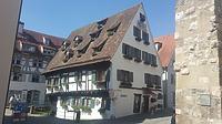 """Nordostansicht, Schwörhausgasse 6, Schiefes Haus / Fachwerkhaus, sog. """"Schiefes Haus"""" in 89073 Ulm (30.05.2018 - Christin Aghegian-Rampf)"""