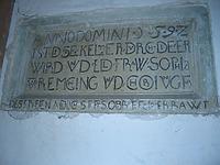 Inschriftentafel von 1592 / Ehem. Stiftskelter in 71737 Kirchberg an der Murr