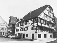 Hist. Ansicht gegen SO, Ecke Schrannengasse  / Wohn- und Geschäftshaus in 88400 Biberach, Biberach an der Riß (Bildindex Foto Marburg: LAD BW/ Tübingen, Microfiche-Scan mi04935d11)